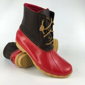 Sperry Saltwater Red Rubber Rain Boots 10W